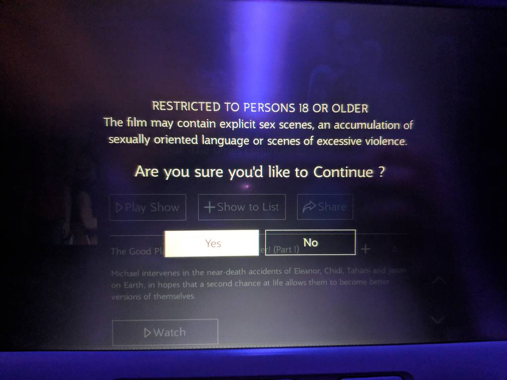 Qatar Airways Economy Class Review Entertainment Screen with Warning