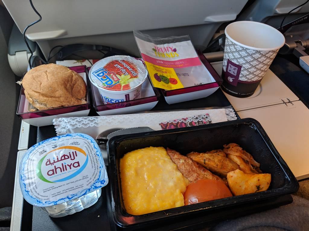 Qatar Airways Economy Class Review Scrambled Egg Breakfast