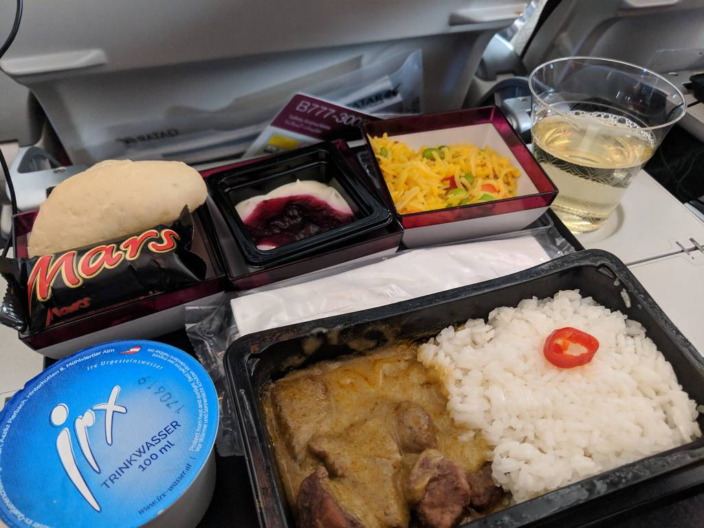 Qatar Airways Economy Class Review Thai beef curry