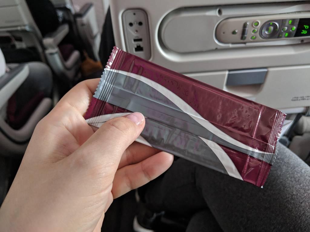 Qatar Airways Economy Class Review Refreshment towel